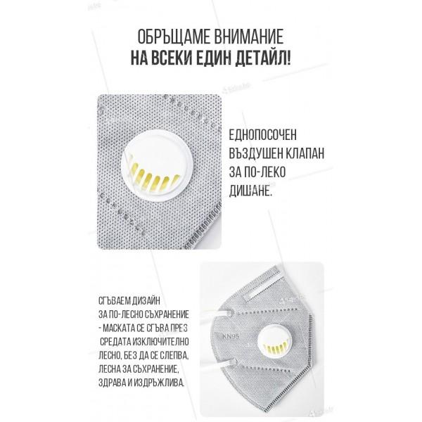 Защитна предпазна маска KN95 Респиратор за лице с активен въглен 7степенна защита 7