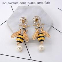 Свежи дамски обеци пчеличка, цвете и перла А46