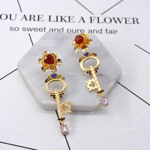 Дамски обеци ключ, цвете и сърце А47 1