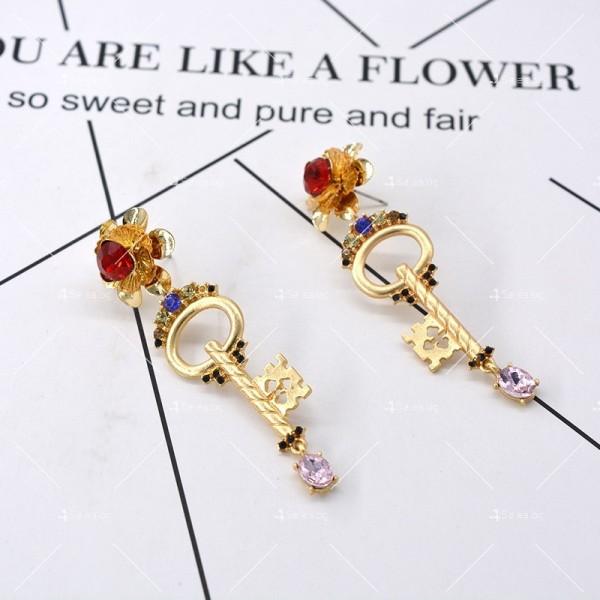 Дамски обеци ключ, цвете и сърце А47 3