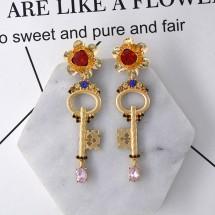 Модерни дамски обеци ключ, цвете и сърце А47