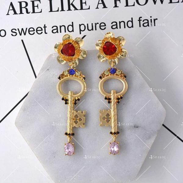 Дамски обеци ключ, цвете и сърце А47