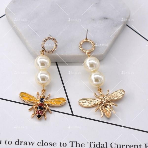 Дамски обеци с пчела, перли и цветни кристали А49 1