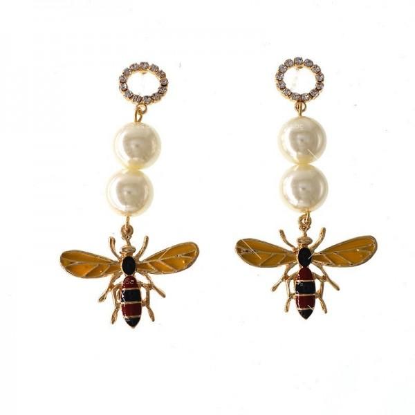 Дамски обеци с пчела, перли и цветни кристали А49 4
