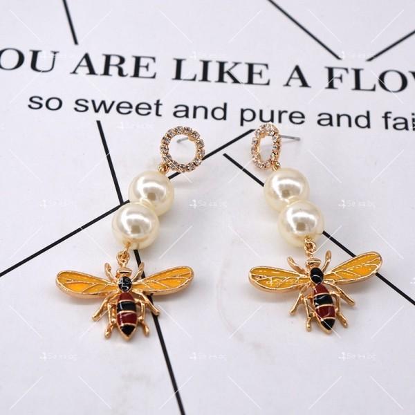 Дамски обеци с пчела, перли и цветни кристали А49 5