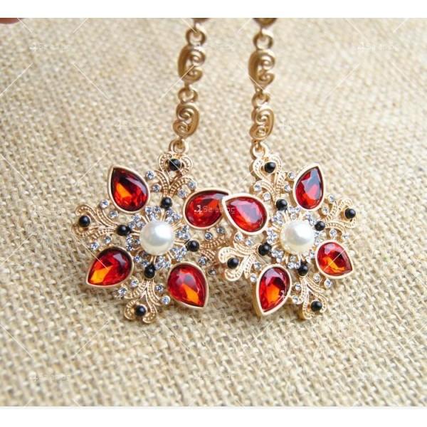 Дамски обеци с висулка от червени кристали А50 4