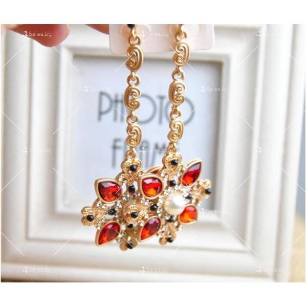Дамски обеци с висулка от червени кристали А50 6
