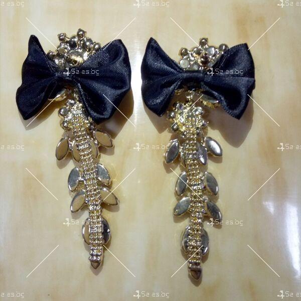 Прекрасни дамски обеци с черна панделка и кристали и брошка в същия стил А51 1