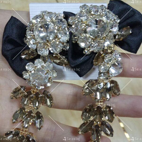 Прекрасни дамски обеци с черна панделка и кристали и брошка в същия стил А51 2