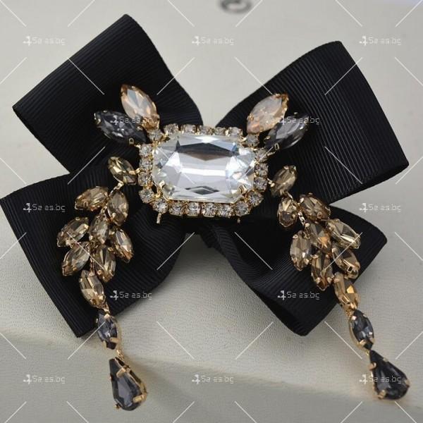 Прекрасни дамски обеци с черна панделка и кристали и брошка в същия стил А51 4