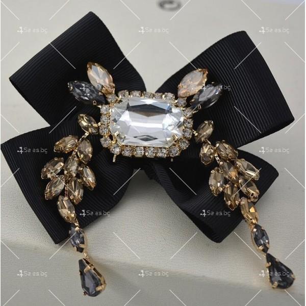 Прекрасни дамски обеци с черна панделка и кристали и брошка в същия стил А51 6