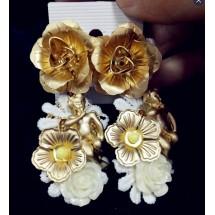 Дамски обеци със златни цветя и ангел А53