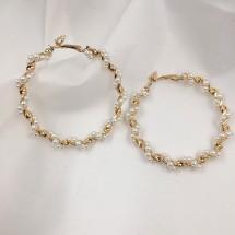 Обеци масивен златен обръч със спирала и перли А56
