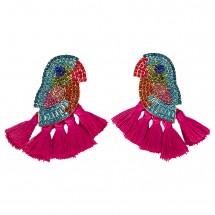 Модерни обеци птица с цветни пискюли и кристали А58