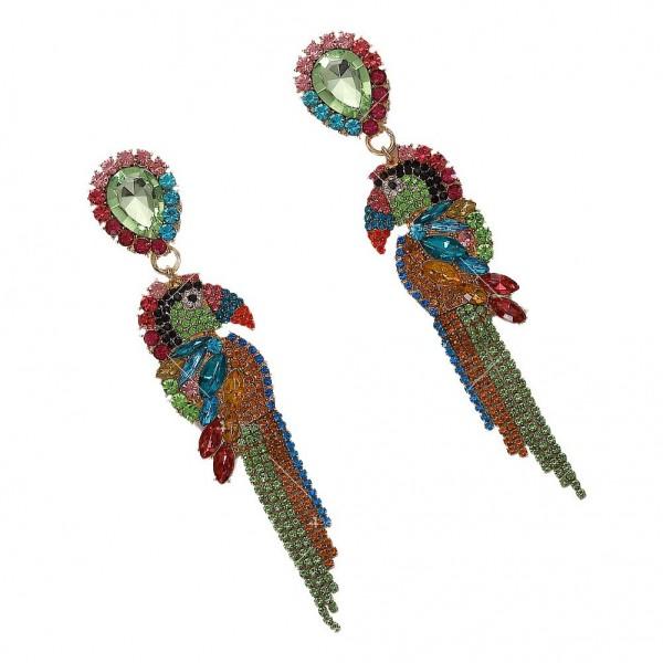 Тропически обеци папагал от цветни кристали А60 1