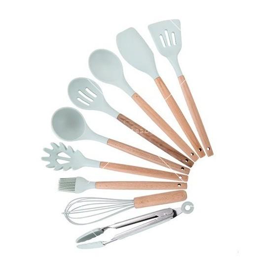 Кокетен силиконов готварски комплект от 9/10/12 части в пастелен цвят