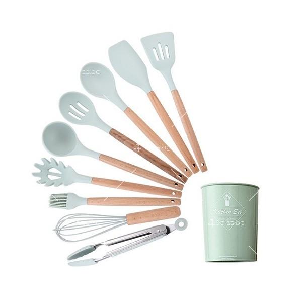 Кокетен силиконов готварски комплект от 9/10/12 части в пастелен цвят 3
