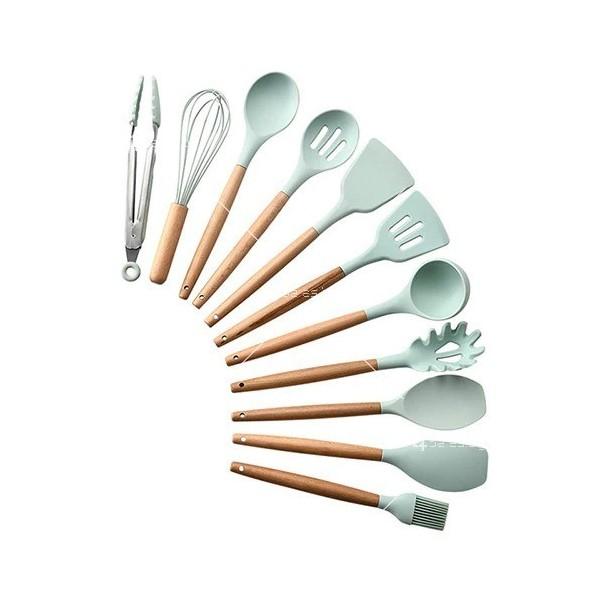Кокетен силиконов готварски комплект от 9/10/12 части в пастелен цвят 5