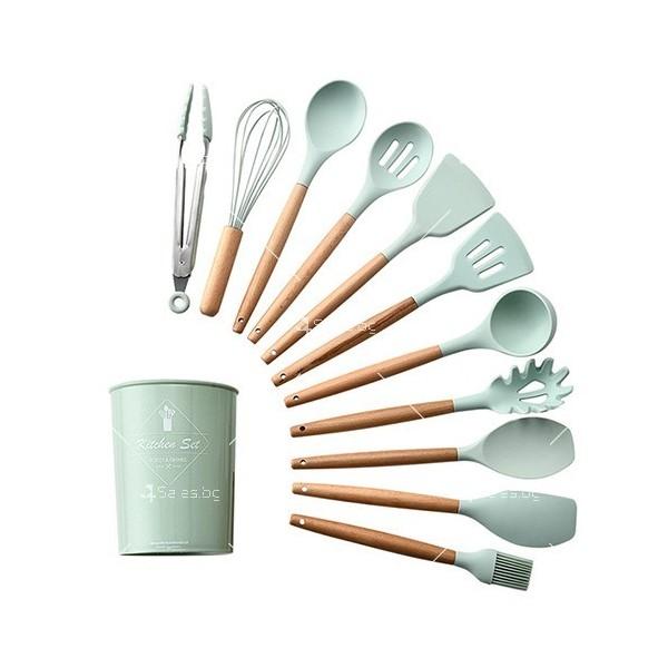 Кокетен силиконов готварски комплект от 9/10/12 части в пастелен цвят 6