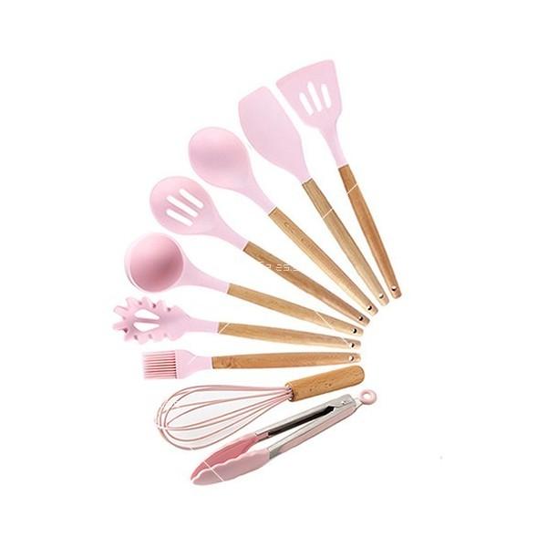 Кокетен силиконов готварски комплект от 9/10/12 части в пастелен цвят 8