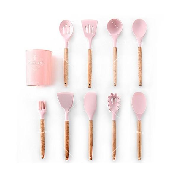 Кокетен силиконов готварски комплект от 9/10/12 части в пастелен цвят 11