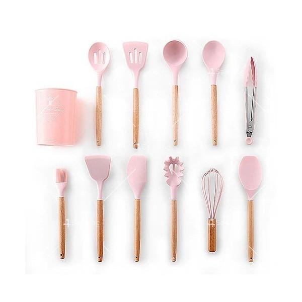 Кокетен силиконов готварски комплект от 9/10/12 части в пастелен цвят 13