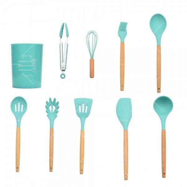 Кокетен силиконов готварски комплект от 9/10/12 части в пастелен цвят 16