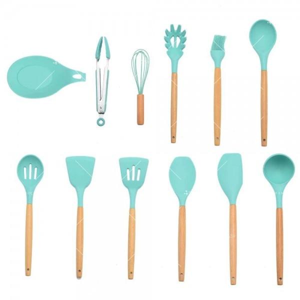 Кокетен силиконов готварски комплект от 9/10/12 части в пастелен цвят 18