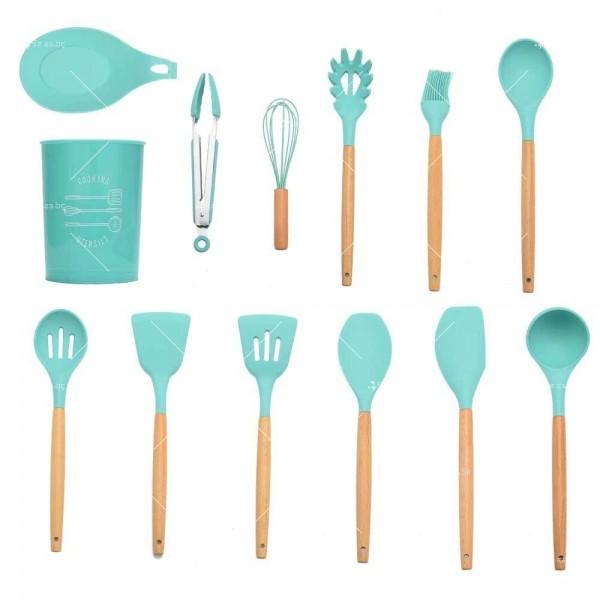 Кокетен силиконов готварски комплект от 9/10/12 части в пастелен цвят 19