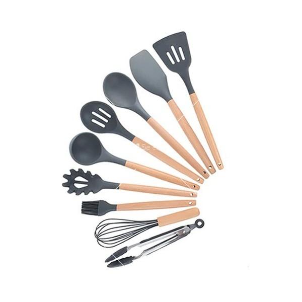 Кокетен силиконов готварски комплект от 9/10/12 части в пастелен цвят 21