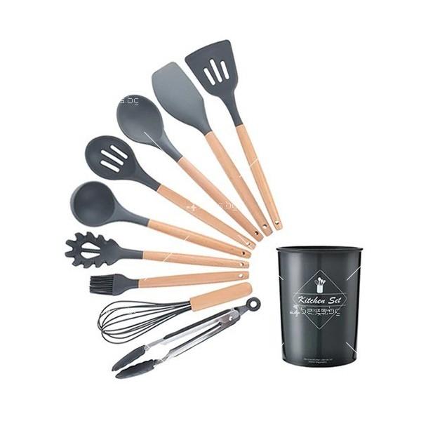 Кокетен силиконов готварски комплект от 9/10/12 части в пастелен цвят 23