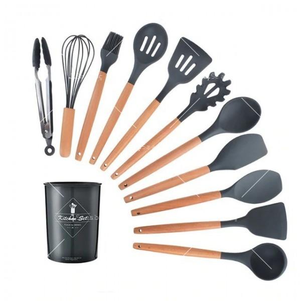 Кокетен силиконов готварски комплект от 9/10/12 части в пастелен цвят 26