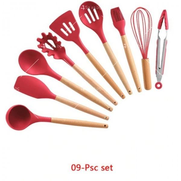 Кокетен силиконов готварски комплект от 9/10/12 части в пастелен цвят 29
