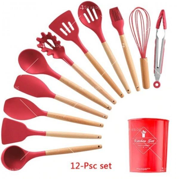 Кокетен силиконов готварски комплект от 9/10/12 части в пастелен цвят 30