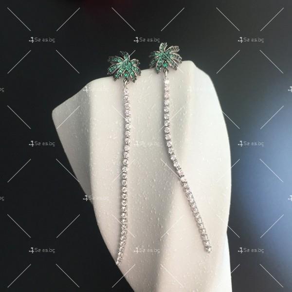Финни дамски обеци палмички с кристали A86 1
