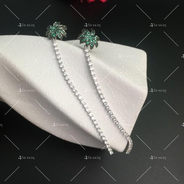 Финни дамски обеци палмички с кристали A86 2