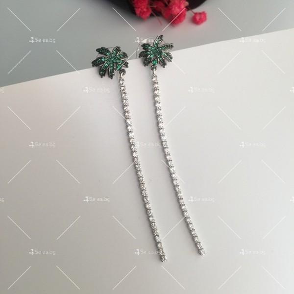 Финни дамски обеци палмички с кристали A86 3