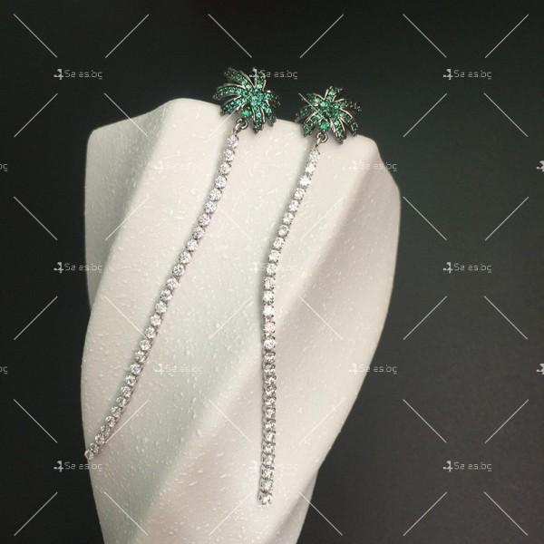 Финни дамски обеци палмички с кристали A86 4