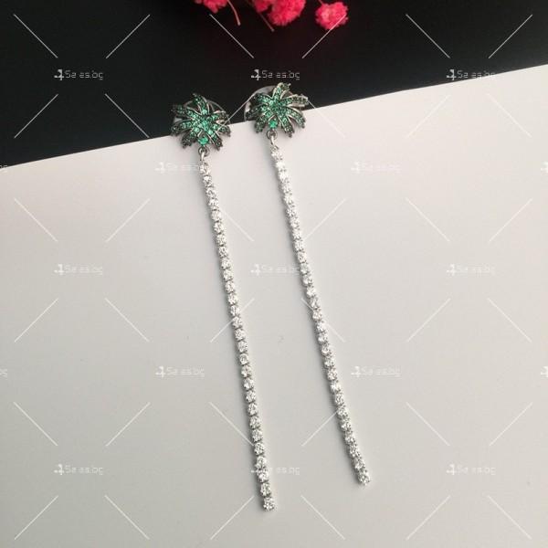 Финни дамски обеци палмички с кристали A86