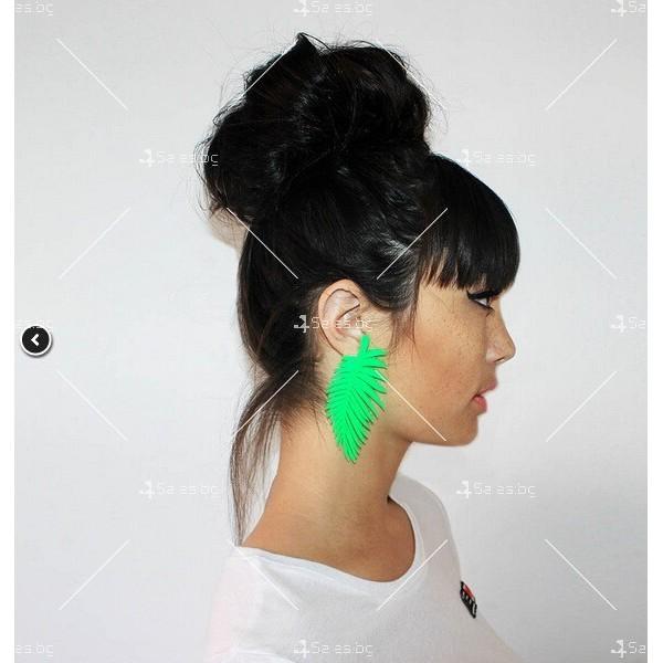 Екзотични дамски обеци палмово листо А96 3