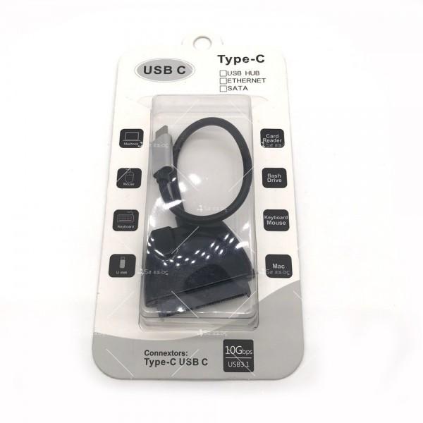 Конектор кабел Type-c USB 3.1 към SATA за връзка на хард диск CA54 8