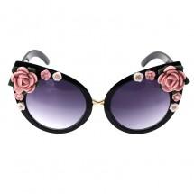 """Барокови слънчеви очила """"котешко око"""" с декорация от цветя yj23"""