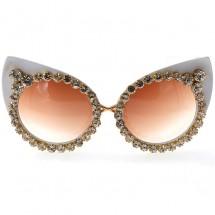 """Големи модни слънчеви очила """"котешко око"""" с бяла рамка и камъни yj25"""