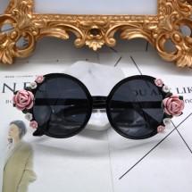Кръгли слънчеви очила с декорация с рози yj26