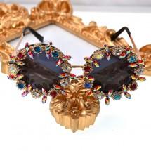 Ретро луксозни очила с кръгла форма и кристали yj27