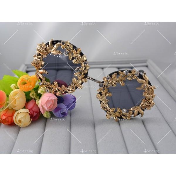 Кръгли ретро слънчеви очила със златен обков yj3 2