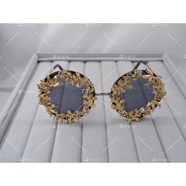 Кръгли ретро слънчеви очила със златен обков yj3 3