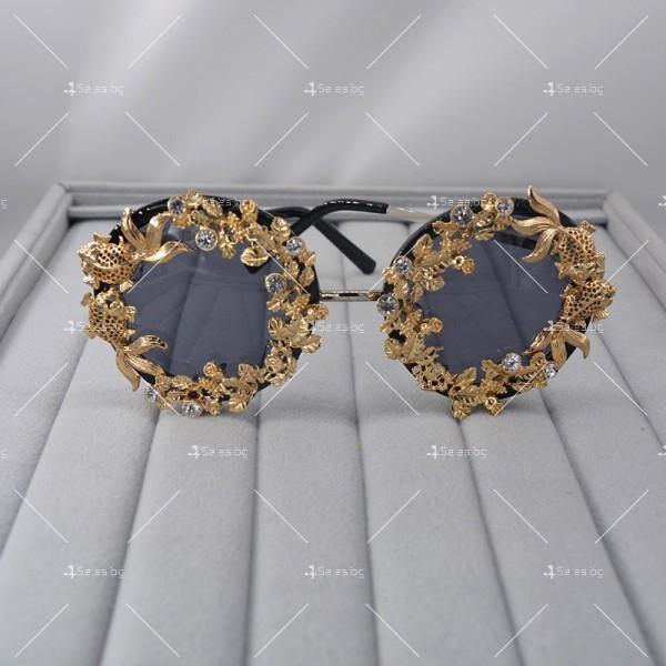Кръгли ретро слънчеви очила със златен обков yj3 4