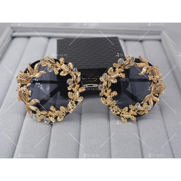 Кръгли ретро слънчеви очила със златен обков yj3 5