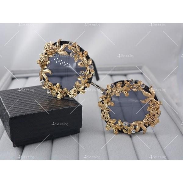 Кръгли ретро слънчеви очила със златен обков yj3 6